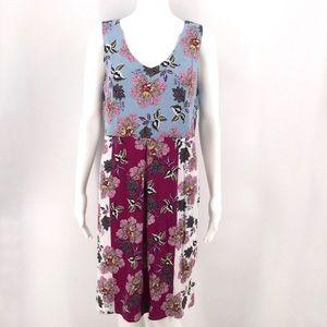 J JILL Dress M Floral Pockets Blue Pink White